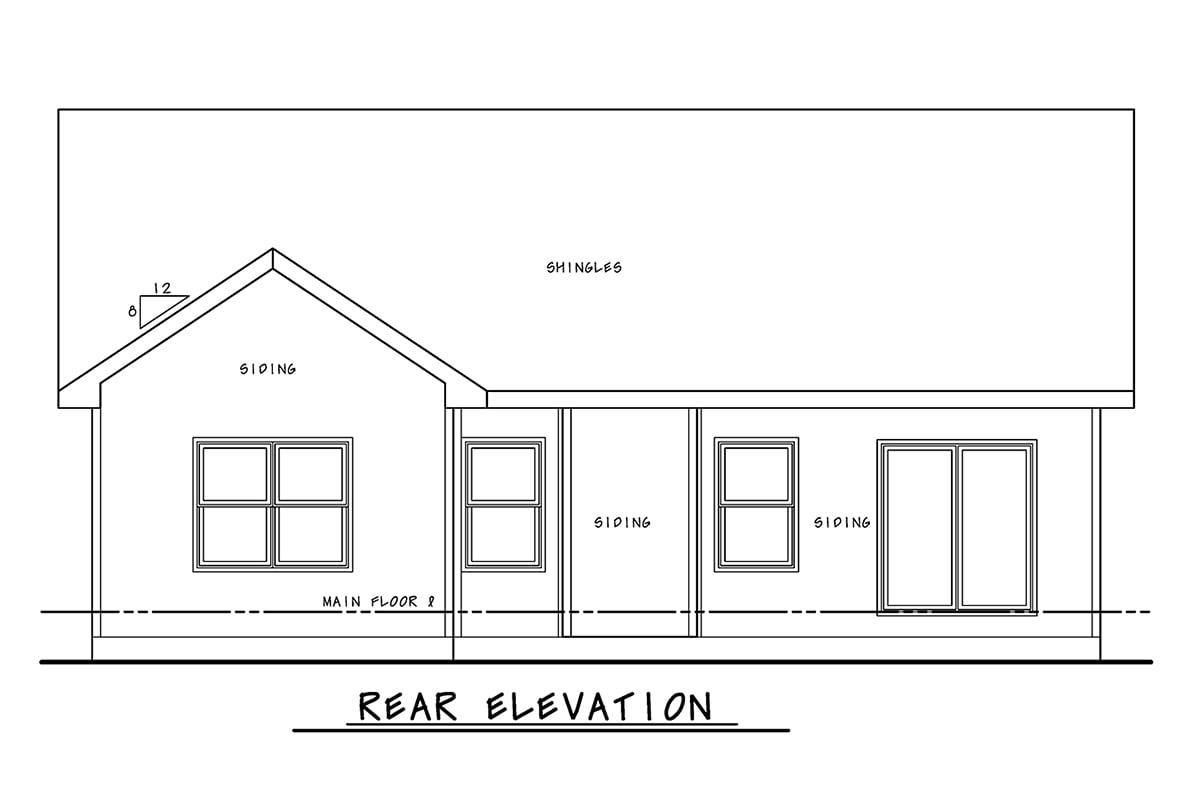 Craftsman House Plan 75751 with 2 Beds, 2 Baths, 2 Car Garage Rear Elevation