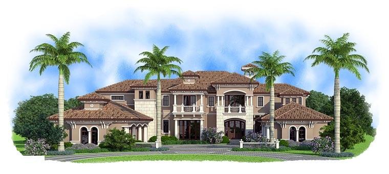 Florida, Mediterranean House Plan 75933 with 5 Beds, 9 Baths, 5 Car Garage Elevation