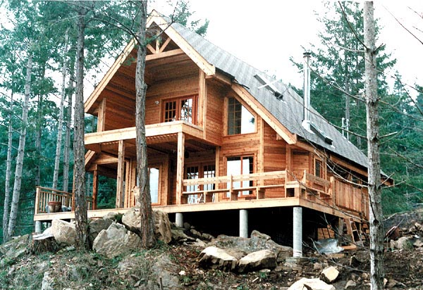 Cabin, Contemporary, Country House Plan 76001 with 2 Beds, 2 Baths Elevation