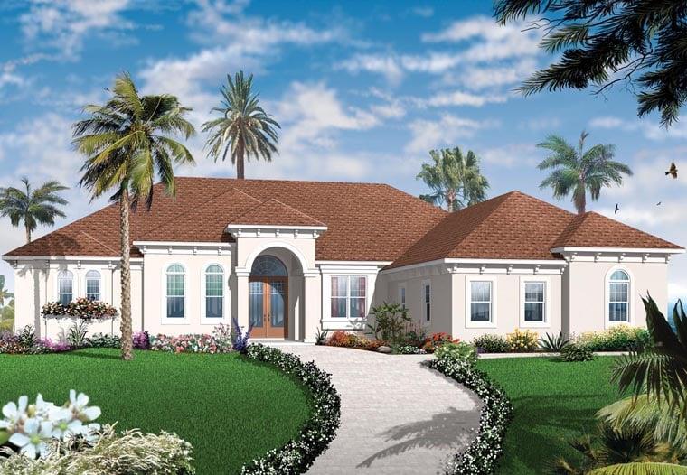 Florida, Mediterranean House Plan 76104 with 4 Beds, 4 Baths, 3 Car Garage Elevation