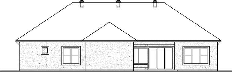 Florida, Mediterranean House Plan 76104 with 4 Beds, 4 Baths, 3 Car Garage Rear Elevation