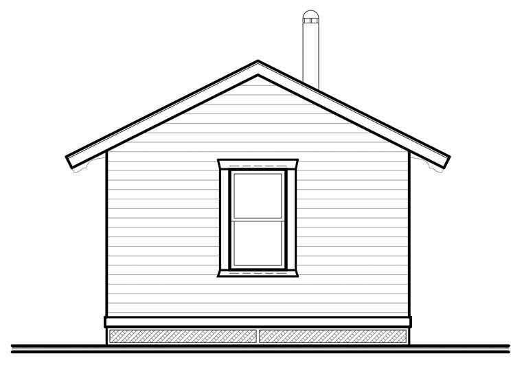 Cabin House Plan 76164 with 1 Beds, 1 Baths Rear Elevation