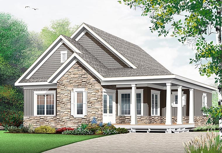 Cape Cod, Cottage, Country, Craftsman House Plan 76448 with 3 Beds, 3 Baths Elevation