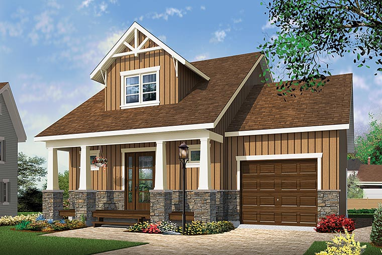 Cape Cod, Cottage, Country, Craftsman House Plan 76462 with 2 Beds, 2 Baths, 1 Car Garage Elevation