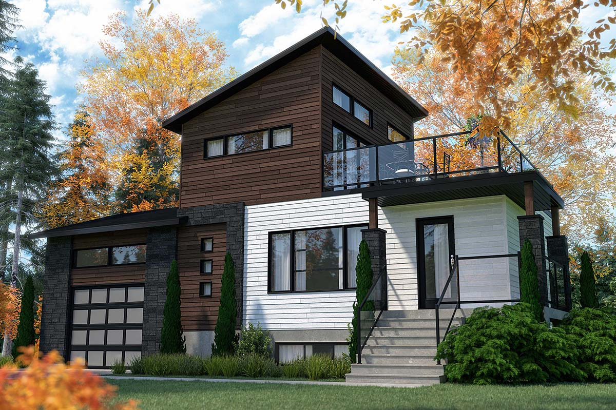 Cabin, Contemporary, Cottage, Modern House Plan 76547 with 2 Beds, 2 Baths, 1 Car Garage Picture 1