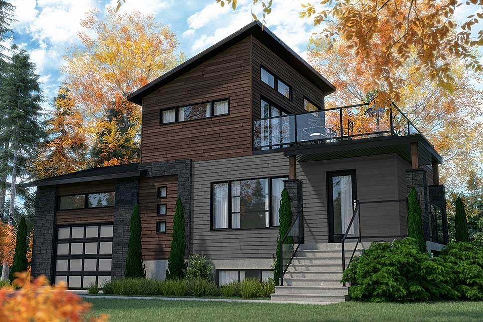 Cabin, Contemporary, Cottage, Modern House Plan 76547 with 2 Beds, 2 Baths, 1 Car Garage Picture 2
