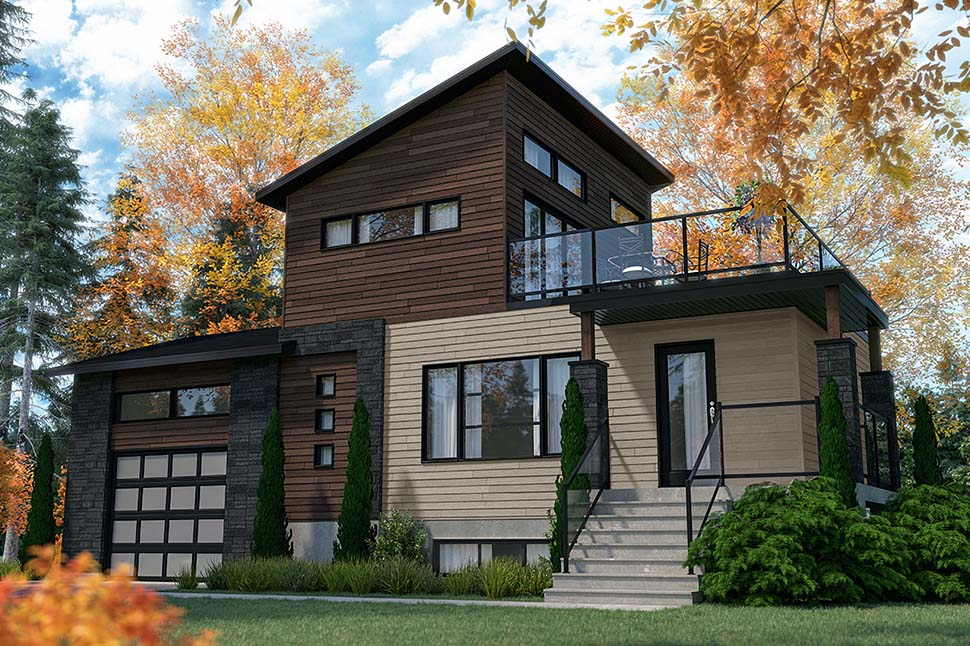 Cabin, Contemporary, Cottage, Modern House Plan 76547 with 2 Beds, 2 Baths, 1 Car Garage Picture 3