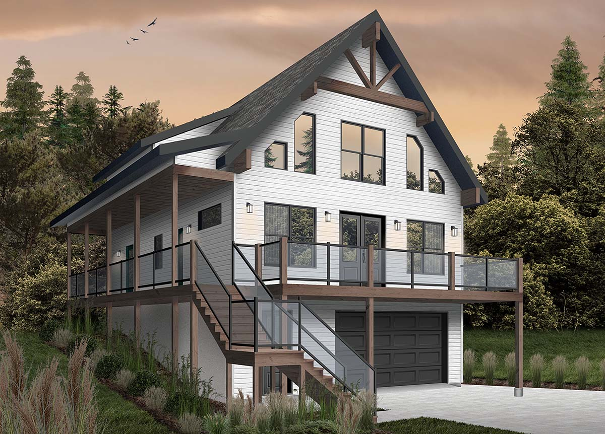 A-Frame, Cabin, Coastal, Cottage, Country House Plan 76550 with 4 Beds, 3 Baths, 1 Car Garage Picture 1
