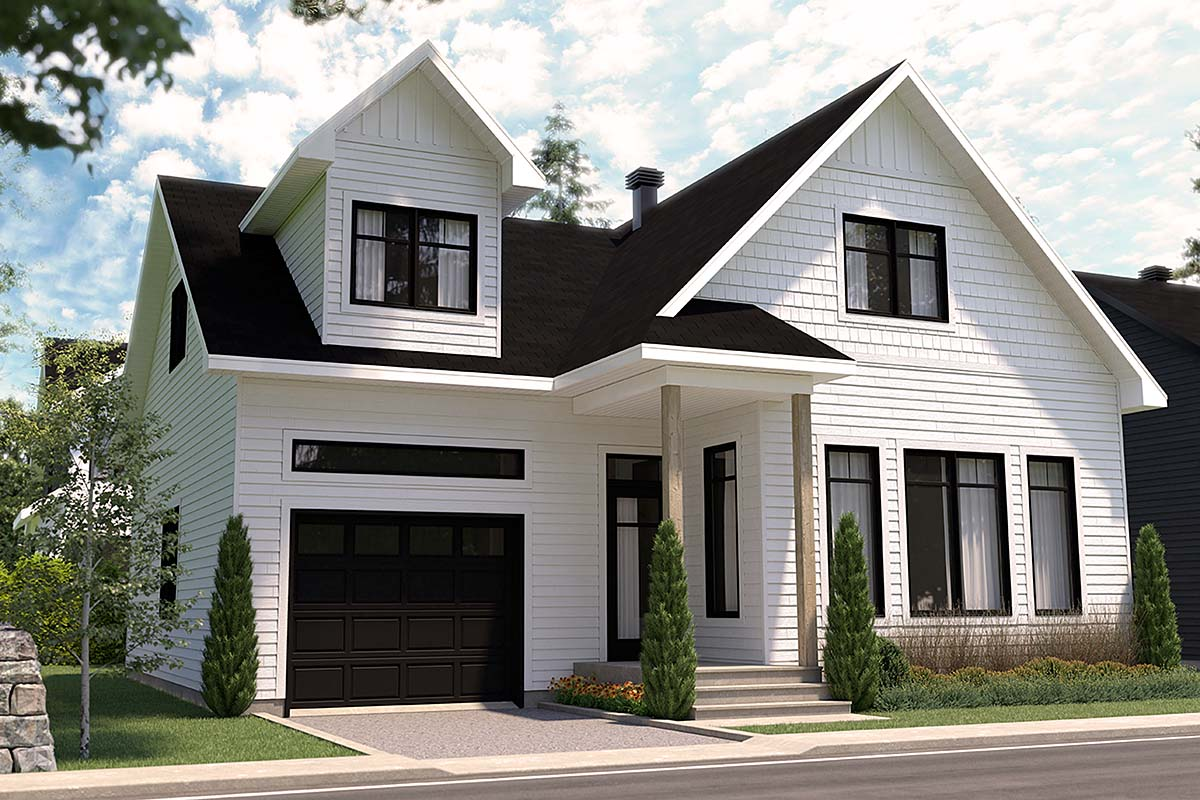 Cape Cod, Country, Farmhouse, Traditional House Plan 76563 with 3 Beds, 3 Baths, 1 Car Garage Elevation