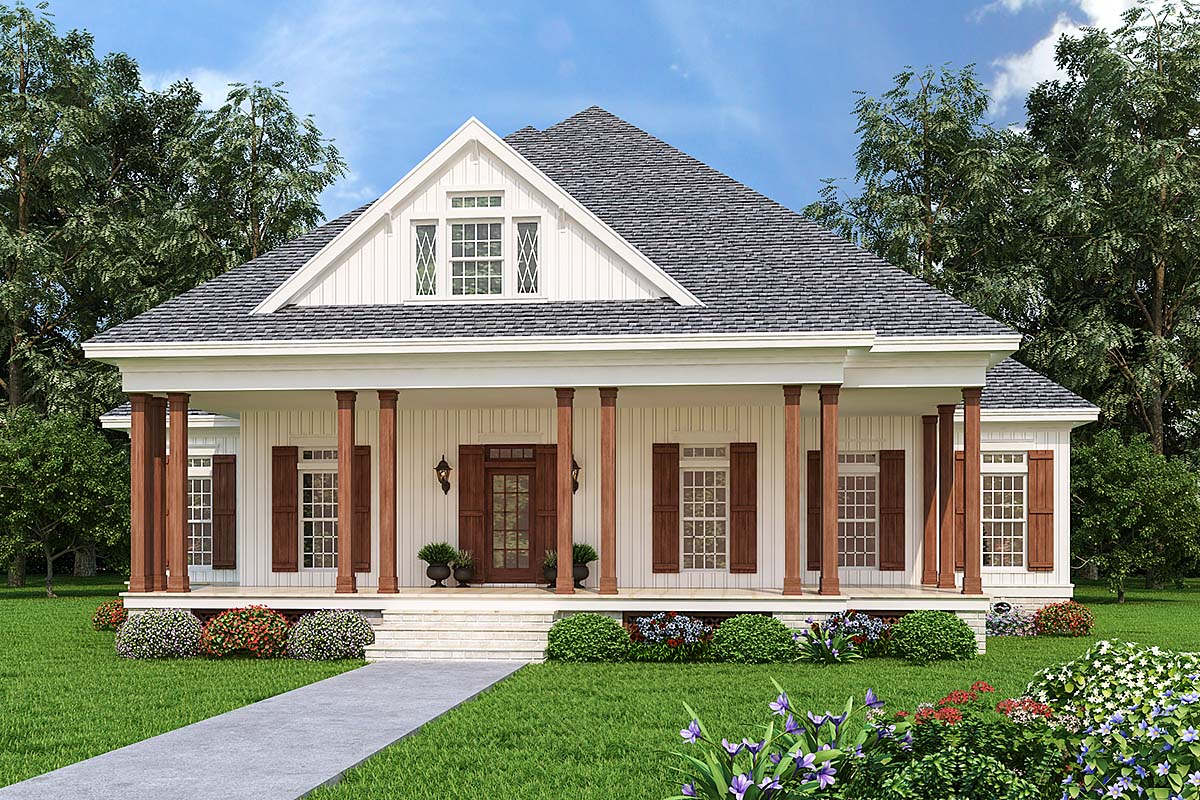 Cottage, Country, Traditional House Plan 76941 with 3 Beds, 2 Baths Elevation