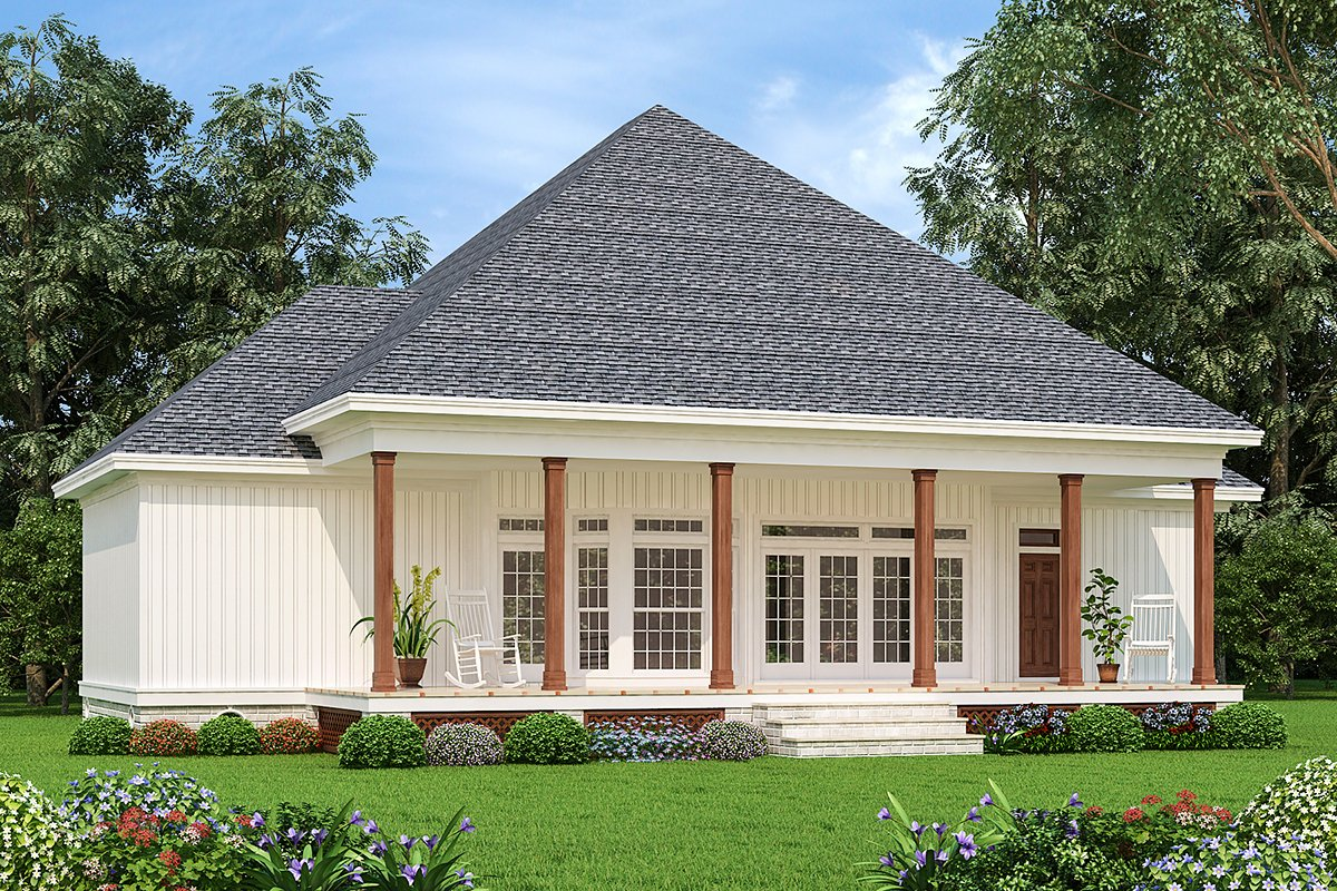 Cottage, Country, Traditional House Plan 76941 with 3 Beds, 2 Baths Rear Elevation
