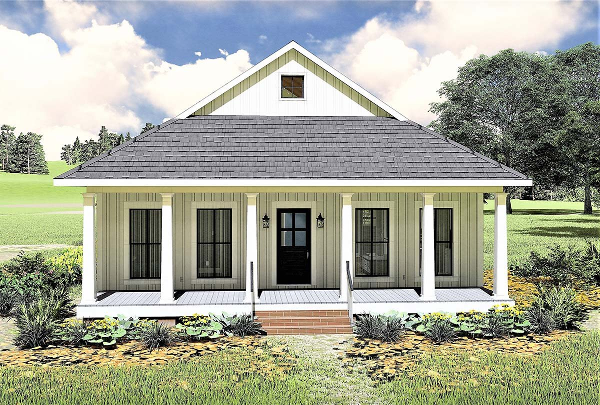 Country, Southern House Plan 77405 with 2 Beds, 1 Baths Elevation