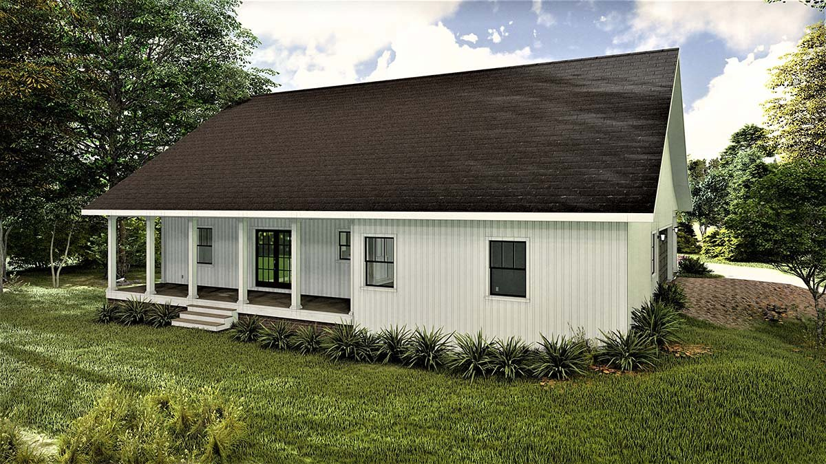 Country, Southern House Plan 77407 with 3 Beds, 2 Baths, 2 Car Garage Rear Elevation