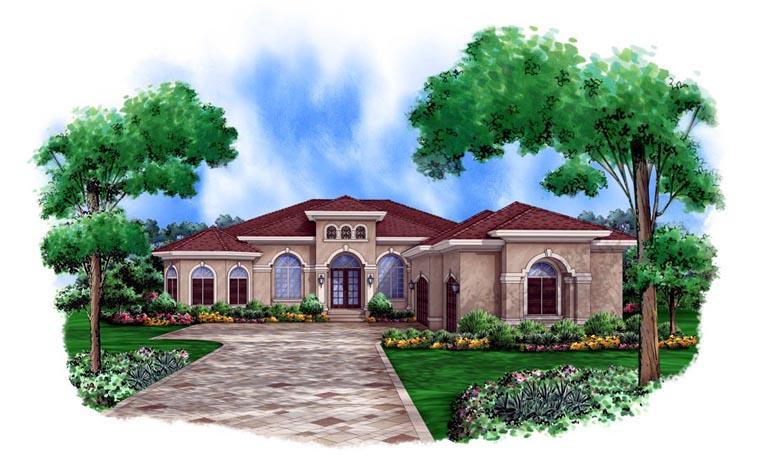 Mediterranean House Plan 78105 with 3 Beds, 3 Baths, 3 Car Garage Elevation