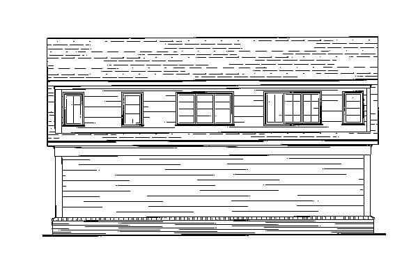 Cottage 3 Car Garage Apartment Plan 80250 with 1 Beds, 1 Baths Rear Elevation