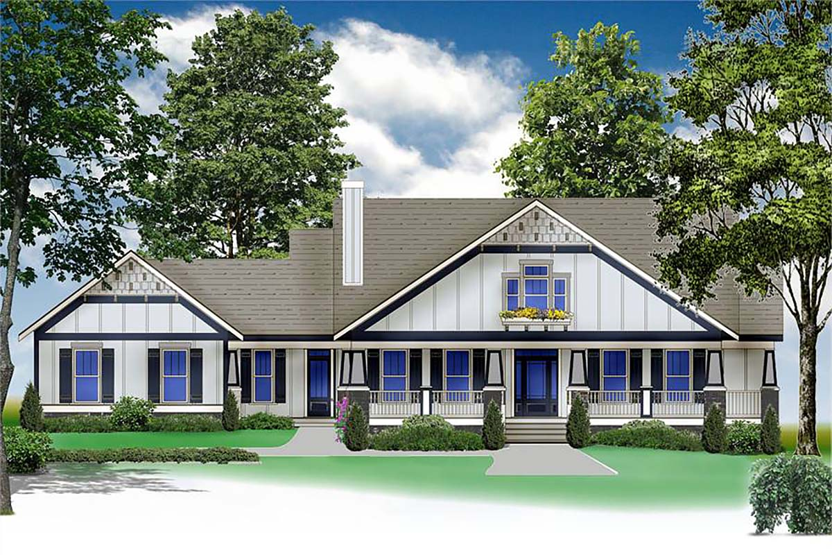 Country, Craftsman, Farmhouse House Plan 80263 with 3 Beds, 3 Baths, 3 Car Garage Elevation