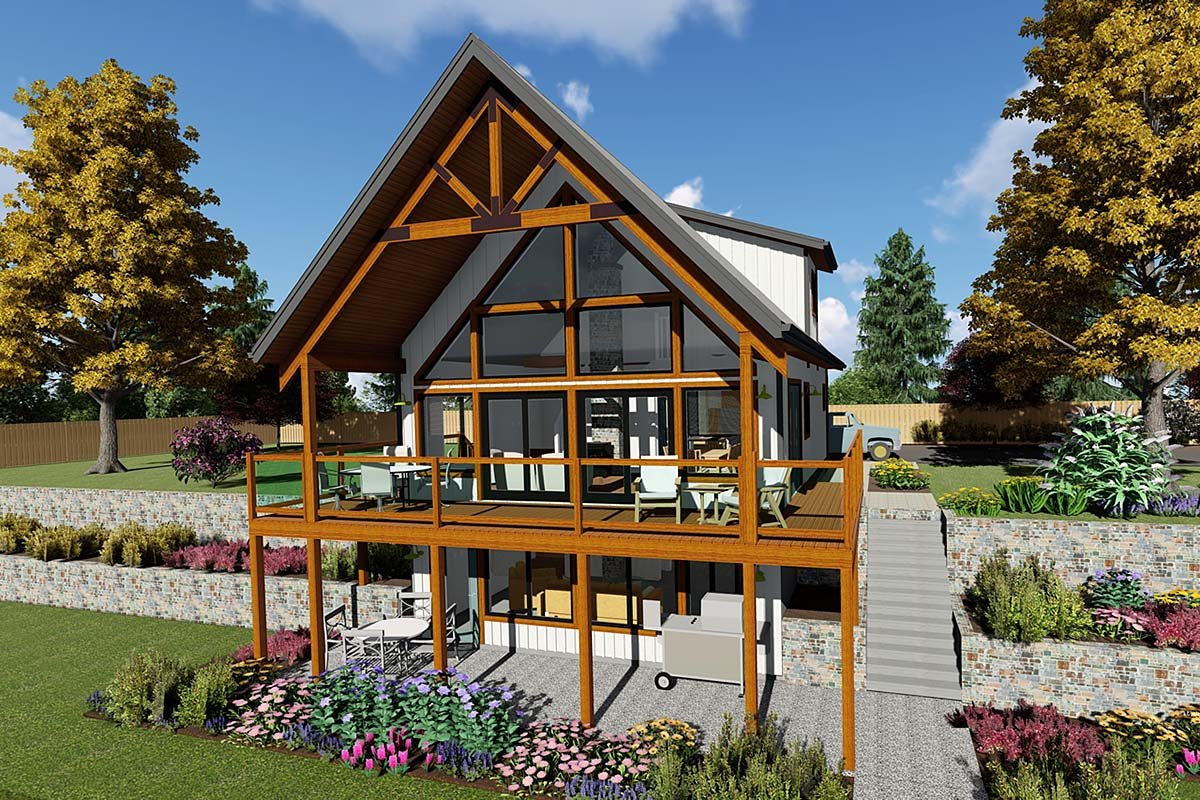 A-Frame, Cabin House Plan 80519 with 2 Beds, 1 Baths Elevation