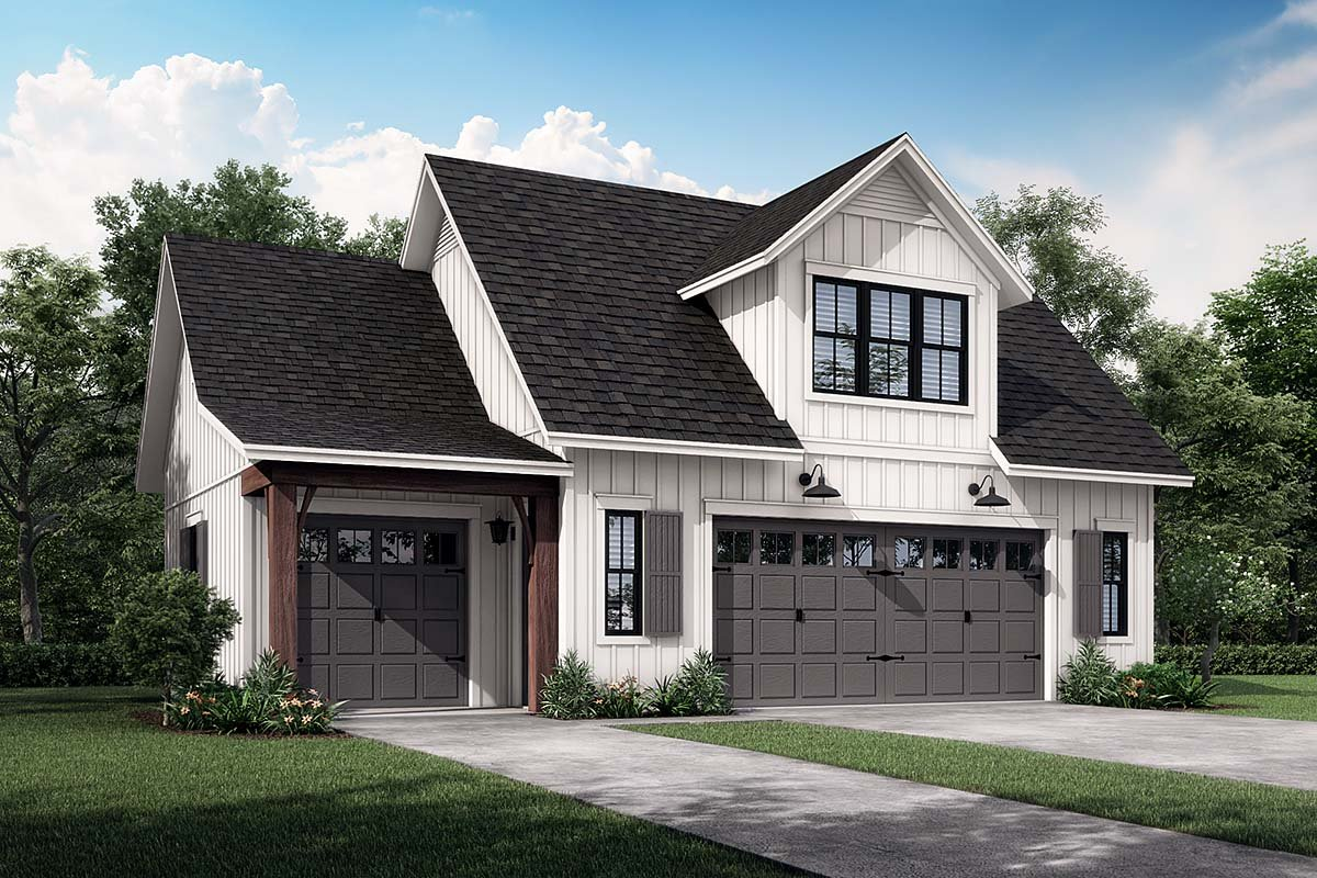 Country, Craftsman, Farmhouse 3 Car Garage Apartment Plan 80809 with 1 Beds, 1 Baths Elevation