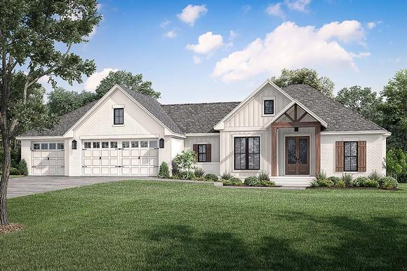 Country, Farmhouse, Traditional House Plan 80812 with 3 Beds, 2 Baths, 3 Car Garage Elevation