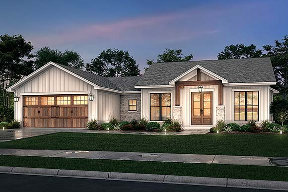 Bungalow, Country, Craftsman, Farmhouse, Ranch House Plan 80818 with 3 Beds, 3 Baths, 2 Car Garage Elevation