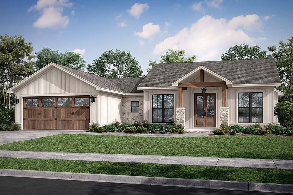 Bungalow, Country, Craftsman, Farmhouse, Ranch House Plan 80818 with 3 Beds, 3 Baths, 2 Car Garage Picture 4
