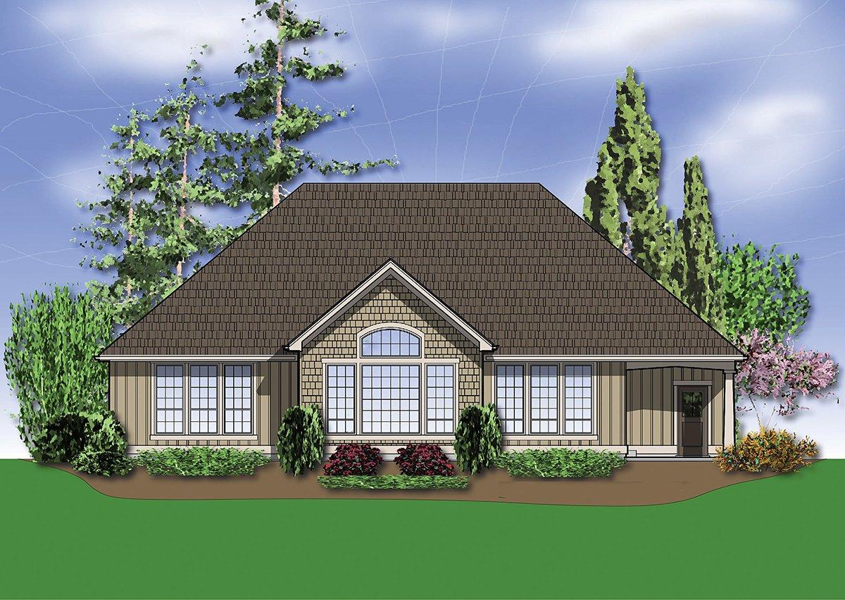 Bungalow, Craftsman House Plan 81227 with 3 Beds, 2 Baths, 3 Car Garage Rear Elevation