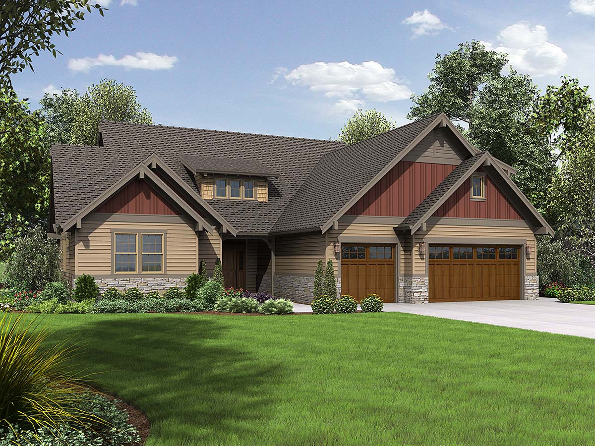 Bungalow, Craftsman, Ranch, Traditional House Plan 81273 with 3 Beds, 4 Baths, 3 Car Garage Elevation