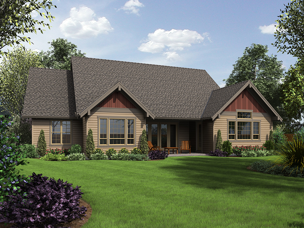 Bungalow, Craftsman, Ranch, Traditional House Plan 81273 with 3 Beds, 4 Baths, 3 Car Garage Rear Elevation