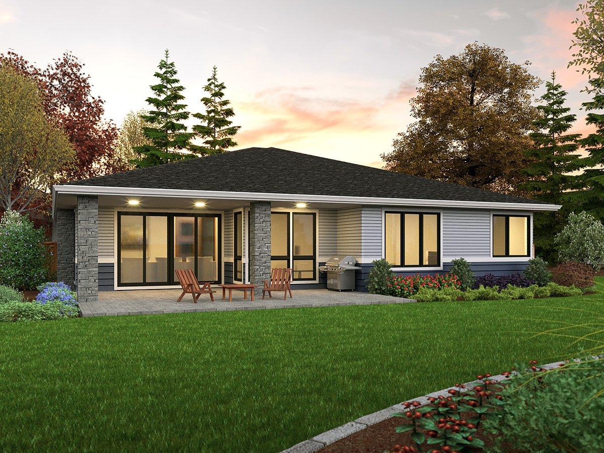 Prairie, Ranch House Plan 81312 with 3 Beds, 2 Baths, 2 Car Garage Rear Elevation