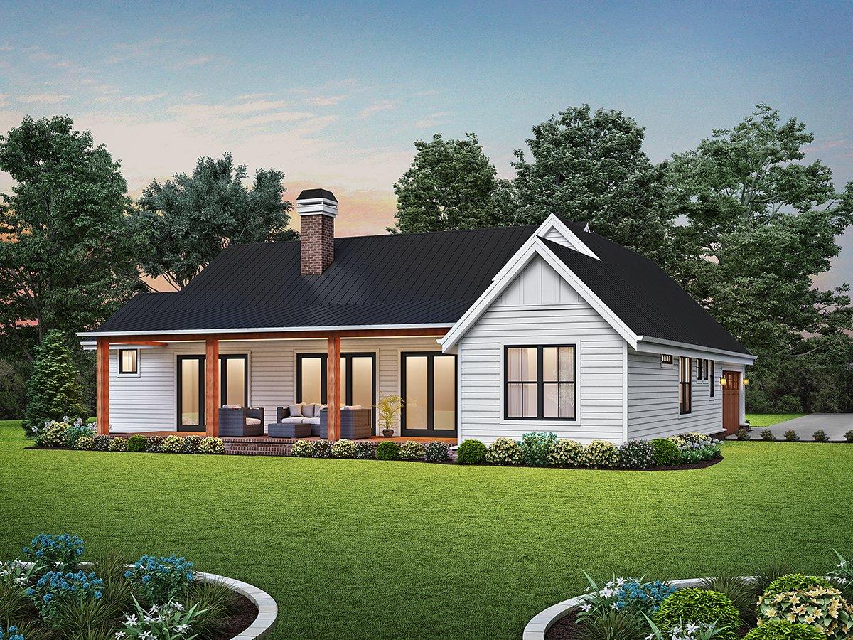 Contemporary, Farmhouse, Ranch House Plan 81313 with 3 Beds, 3 Baths, 2 Car Garage Rear Elevation