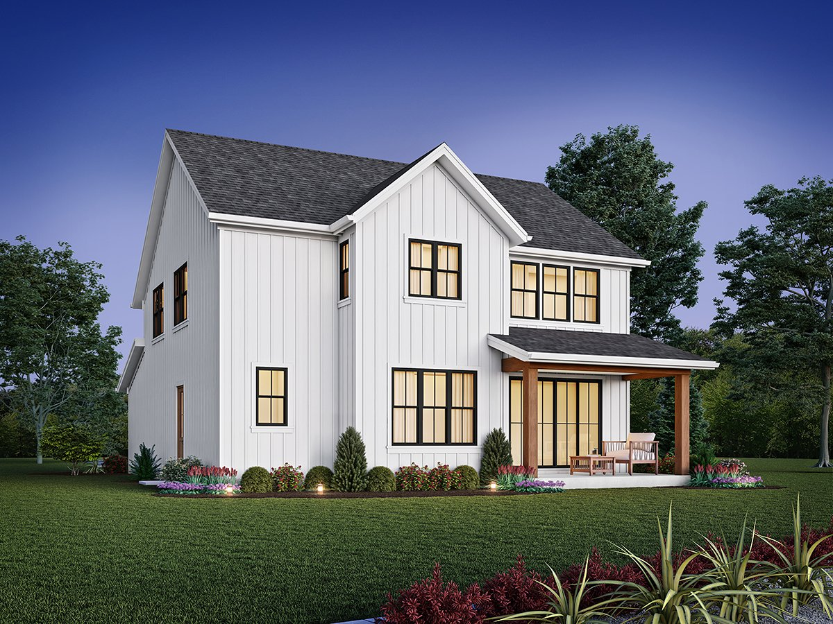 Contemporary, Cottage, Country, Farmhouse House Plan 81315 with 4 Beds, 3 Baths, 2 Car Garage Rear Elevation