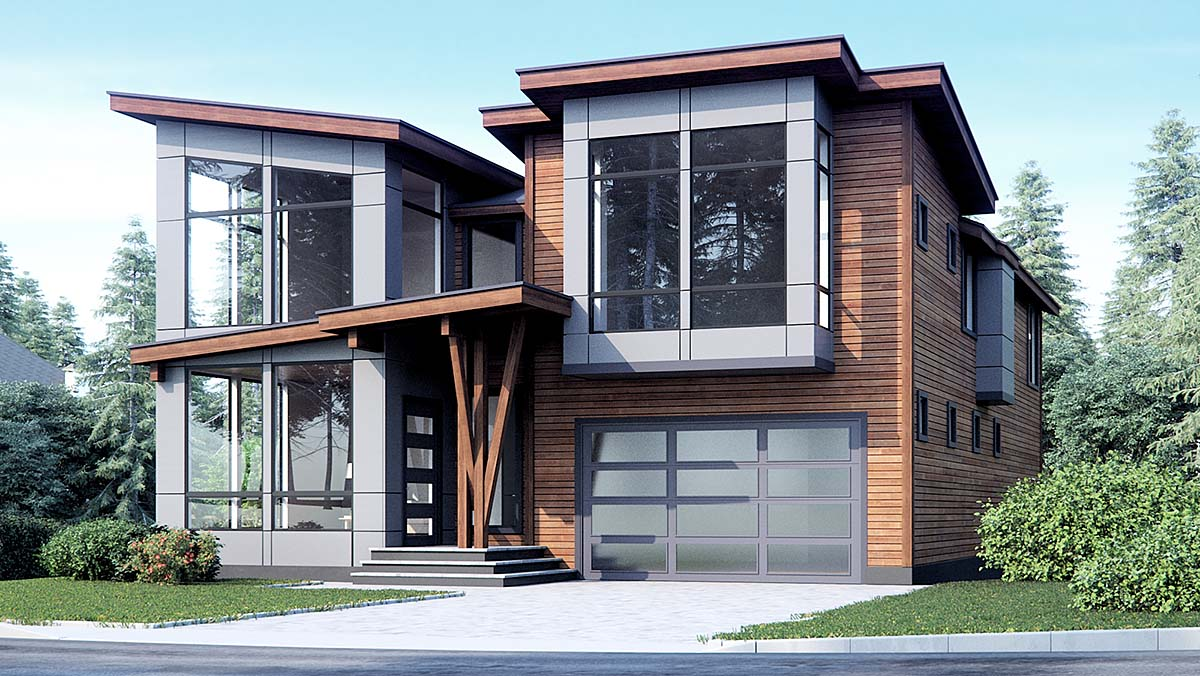 Contemporary, Modern House Plan 81925 with 4 Beds, 3 Baths, 3 Car Garage Elevation