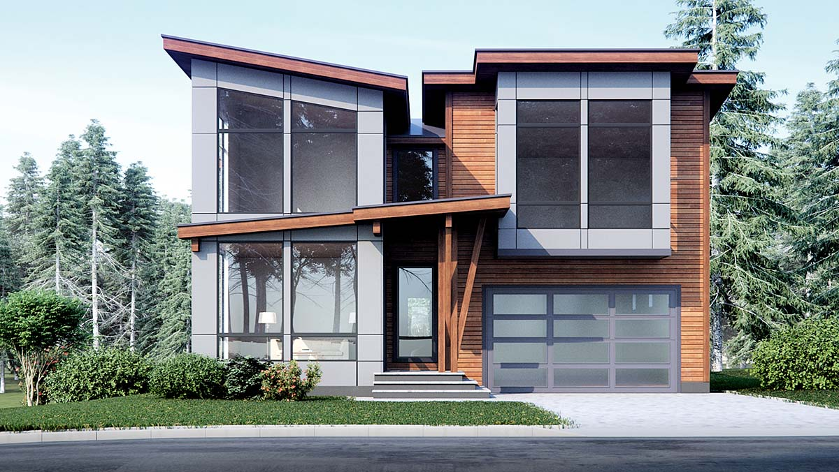 Contemporary, Modern House Plan 81925 with 4 Beds, 3 Baths, 3 Car Garage Picture 1
