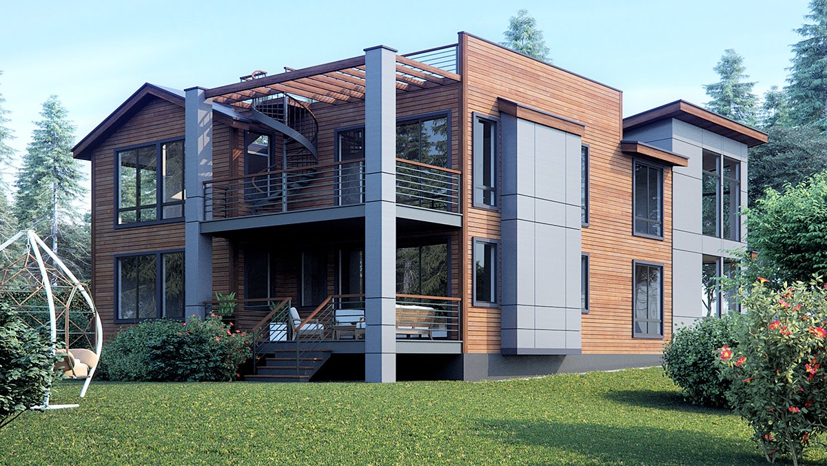 Contemporary, Modern House Plan 81925 with 4 Beds, 3 Baths, 3 Car Garage Rear Elevation