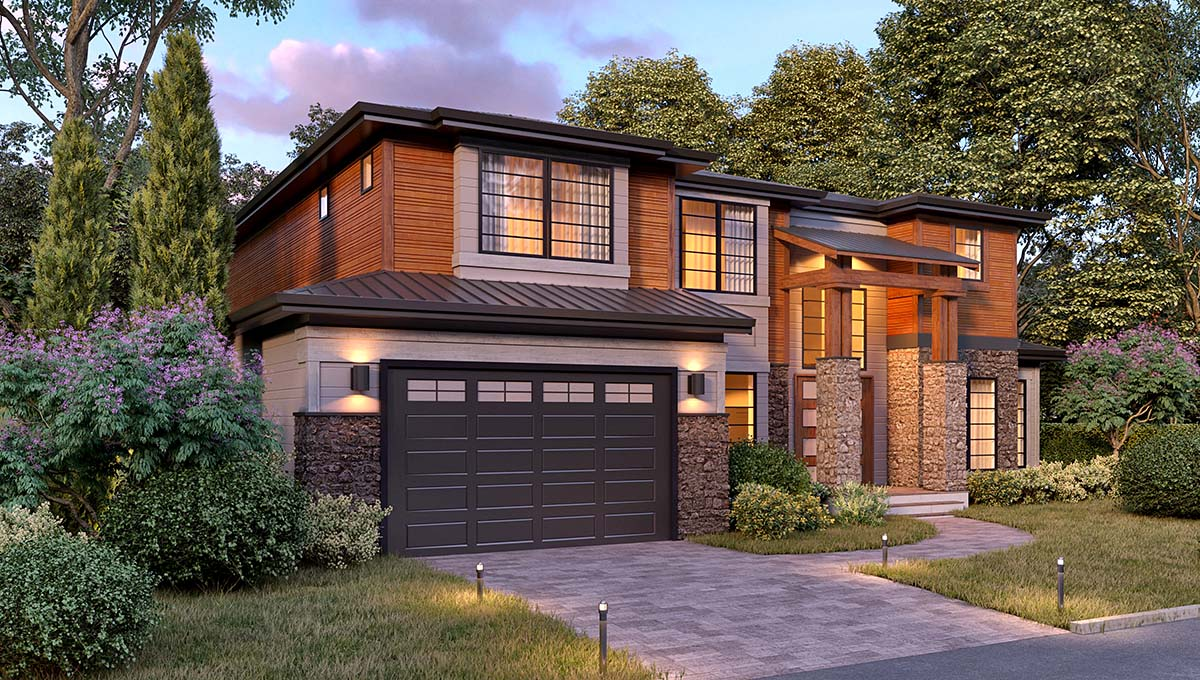 Modern House Plan 81926 with 5 Beds, 4 Baths, 4 Car Garage Picture 1