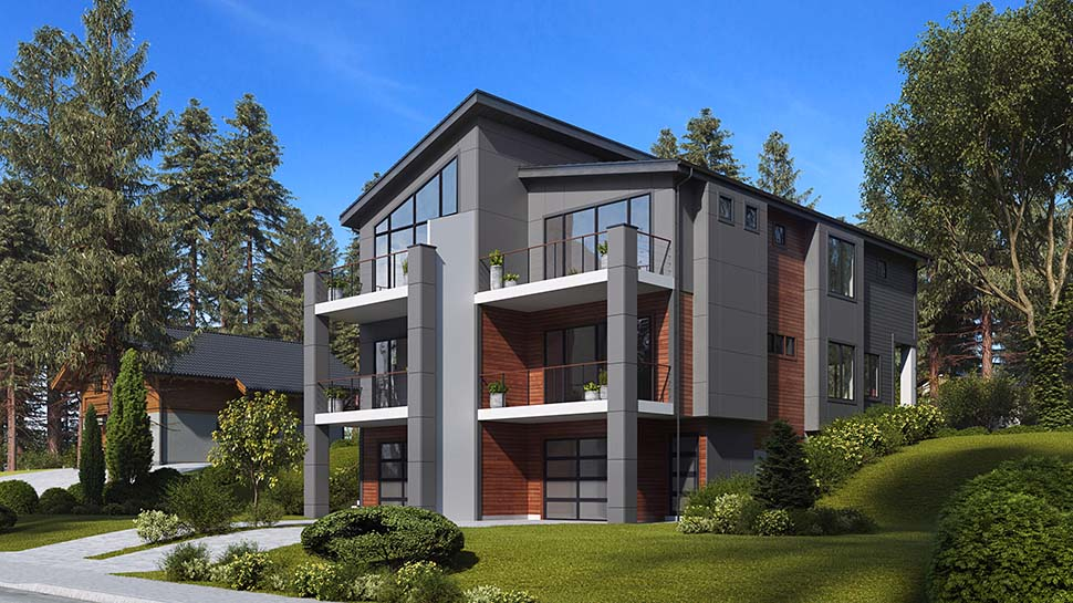 Contemporary, Modern Multi-Family Plan 81940 with 6 Beds, 6 Baths, 3 Car Garage Picture 2