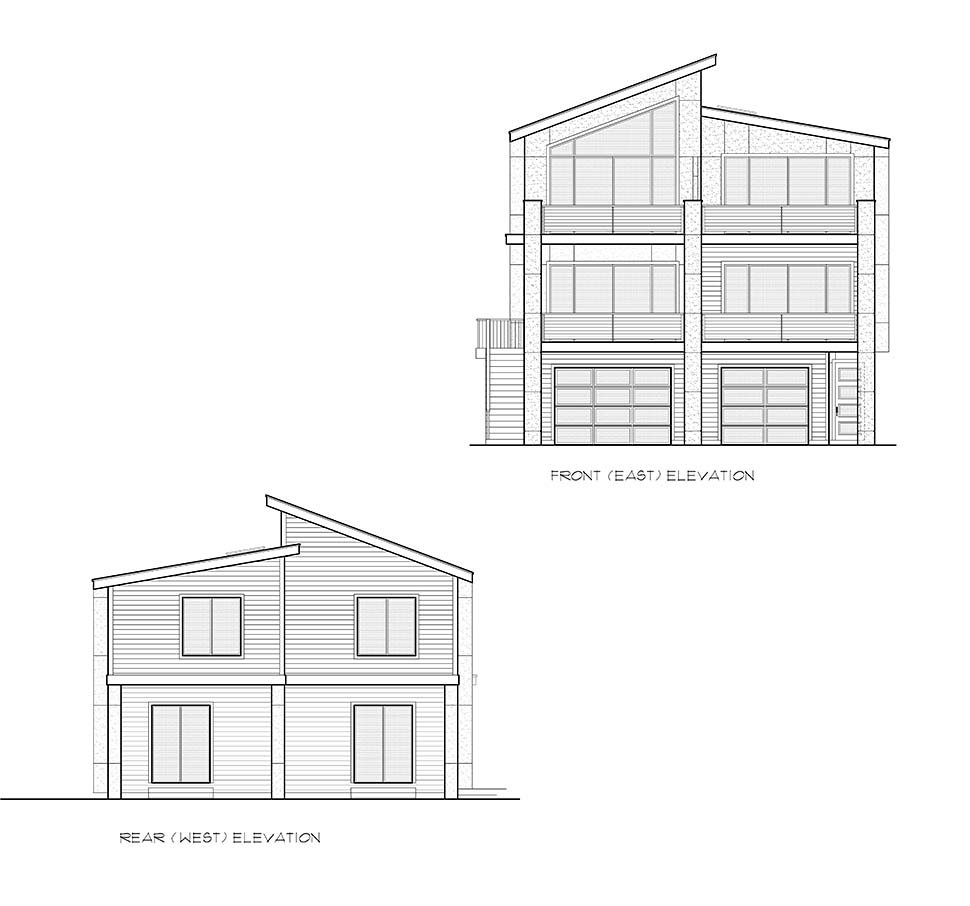 Contemporary, Modern Multi-Family Plan 81940 with 6 Beds, 6 Baths, 3 Car Garage Picture 3