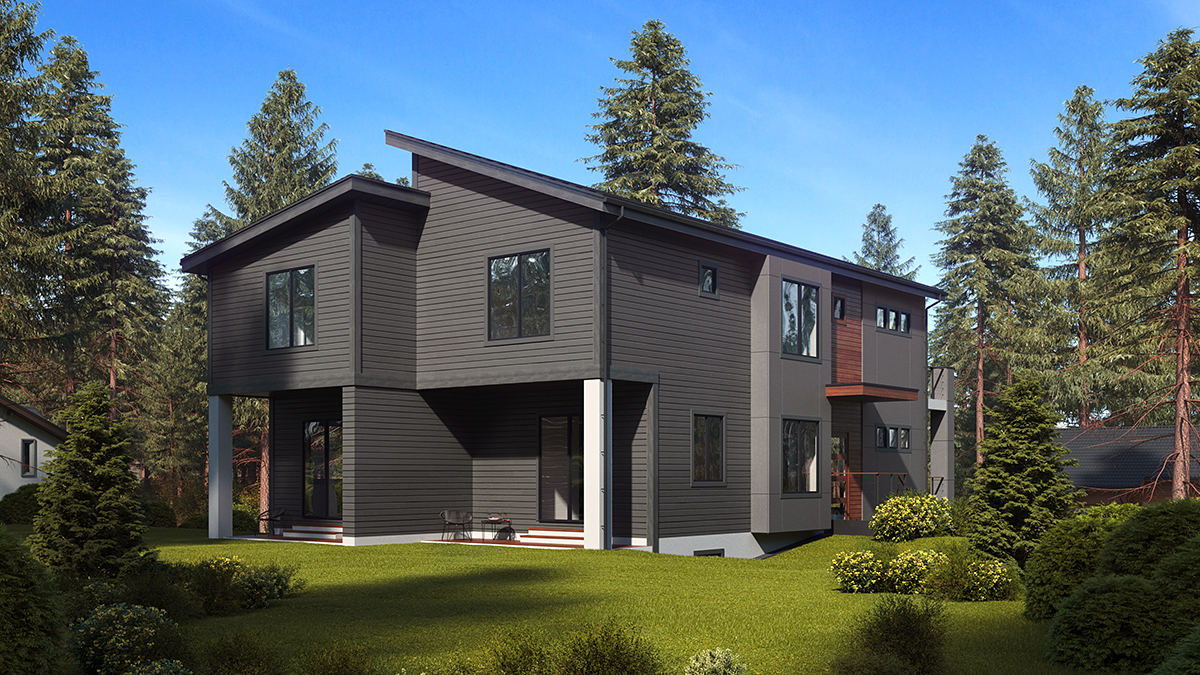 Contemporary, Modern Multi-Family Plan 81940 with 6 Beds, 6 Baths, 3 Car Garage Rear Elevation