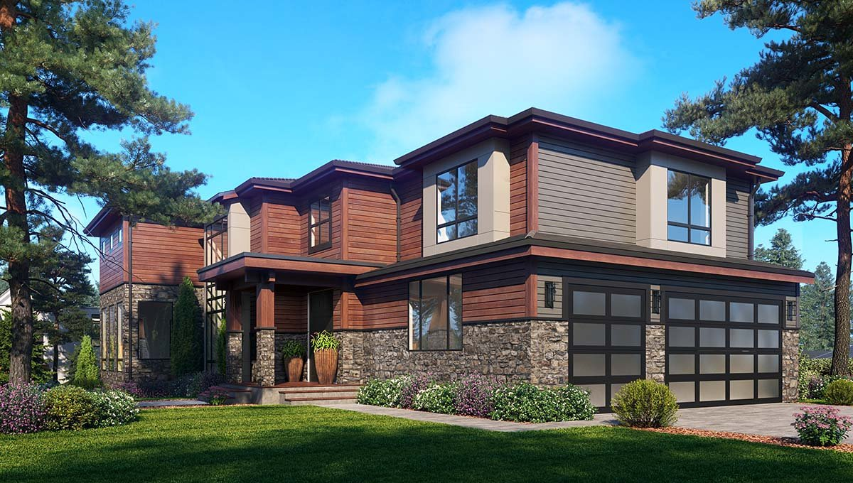 Contemporary, Modern House Plan 81948 with 6 Beds, 5 Baths, 3 Car Garage Picture 1