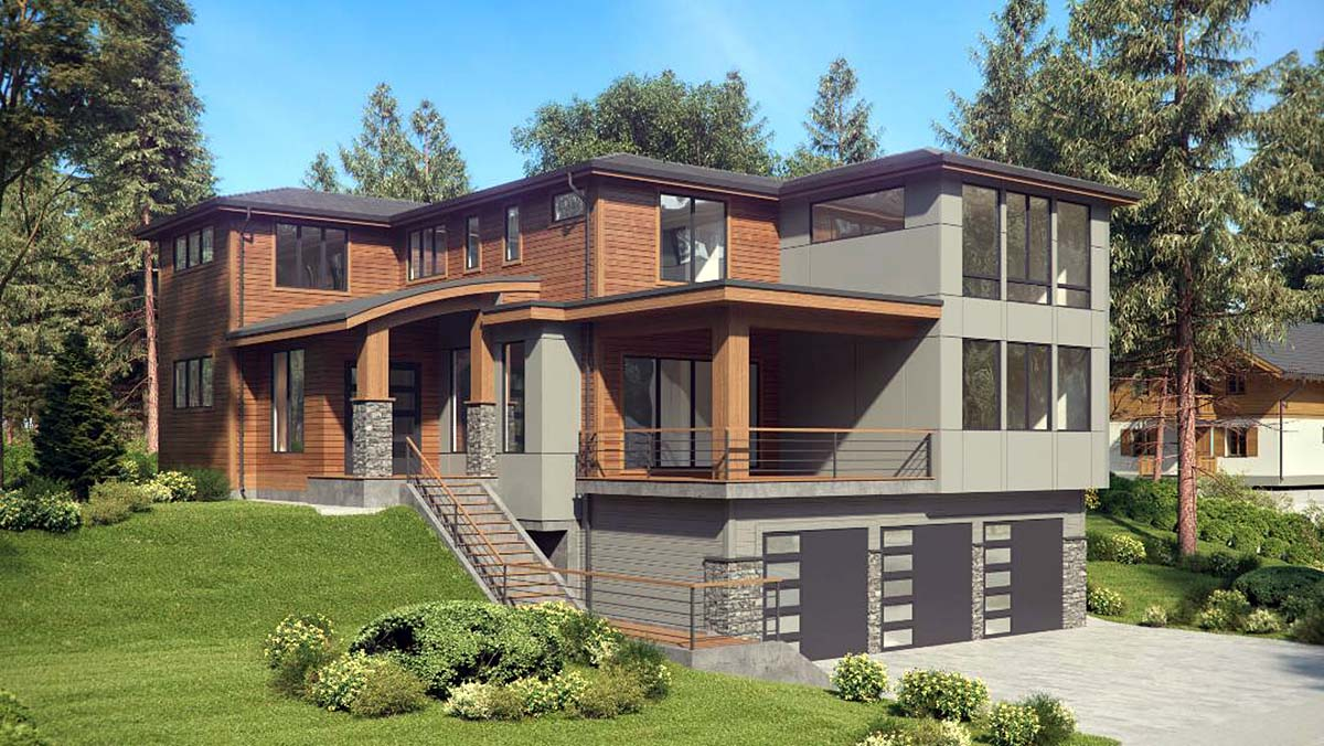 Contemporary, Modern House Plan 81950 with 4 Beds, 4 Baths, 3 Car Garage Elevation