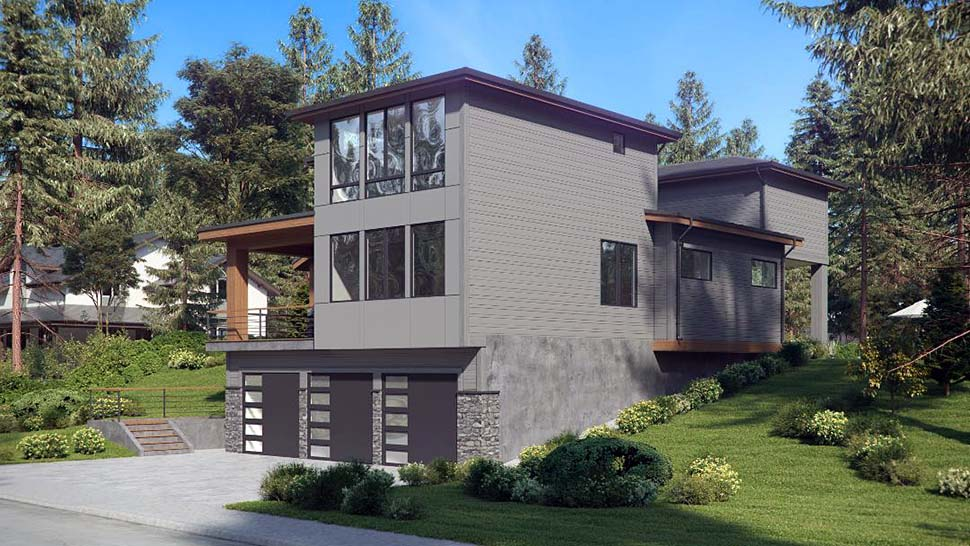 Contemporary, Modern House Plan 81950 with 4 Beds, 4 Baths, 3 Car Garage Picture 2
