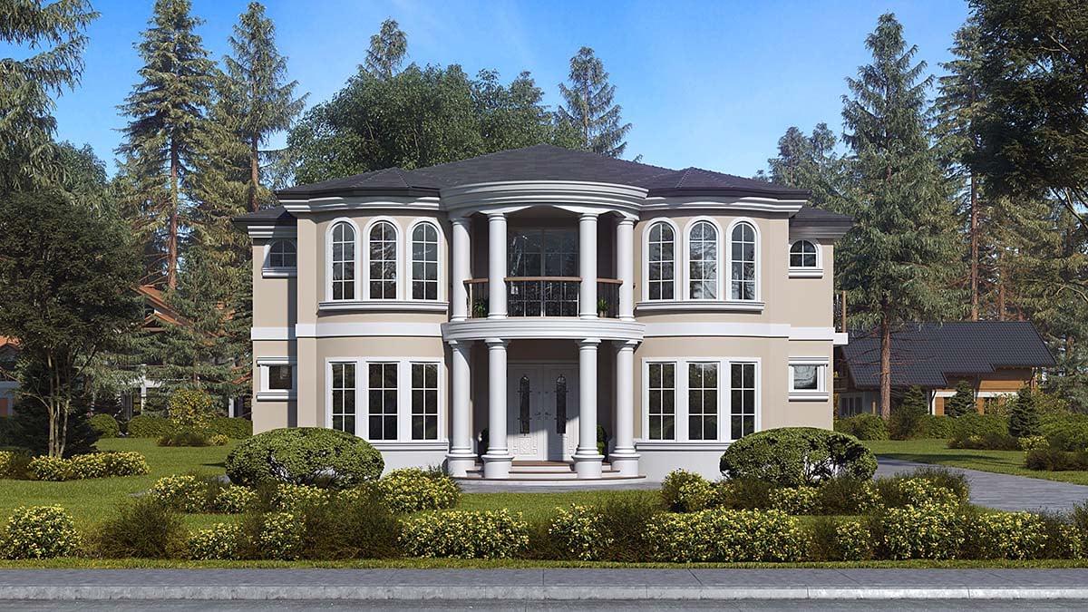 House Plan 81952 - Mediterranean Style with 5141 Sq Ft, 6 Bed, 6 Bath, 1  Half Bath
