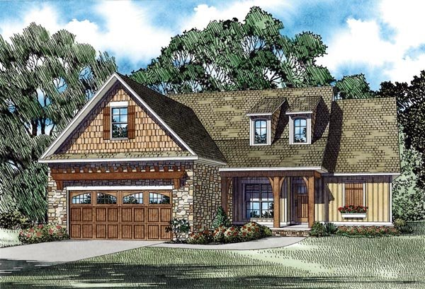 Craftsman, European, Traditional House Plan 82282 with 3 Beds, 2 Baths, 2 Car Garage Elevation