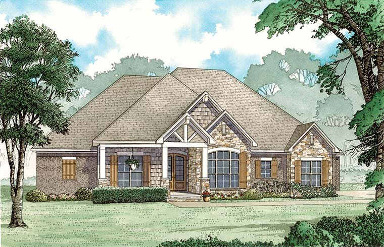 Craftsman, European, Southern, Traditional House Plan 82483 with 3 Beds, 3 Baths, 3 Car Garage Elevation
