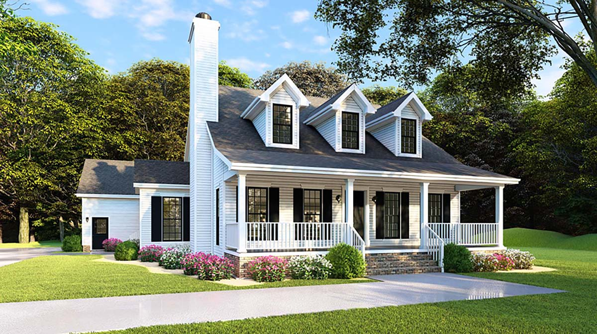 Country, Farmhouse, Southern House Plan 82500 with 4 Beds, 2 Baths, 2 Car Garage Elevation