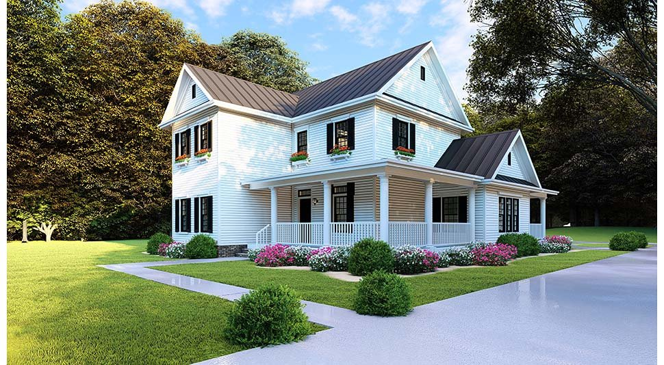 Country, Farmhouse, Southern House Plan 82505 with 4 Beds, 3 Baths, 2 Car Garage Picture 1