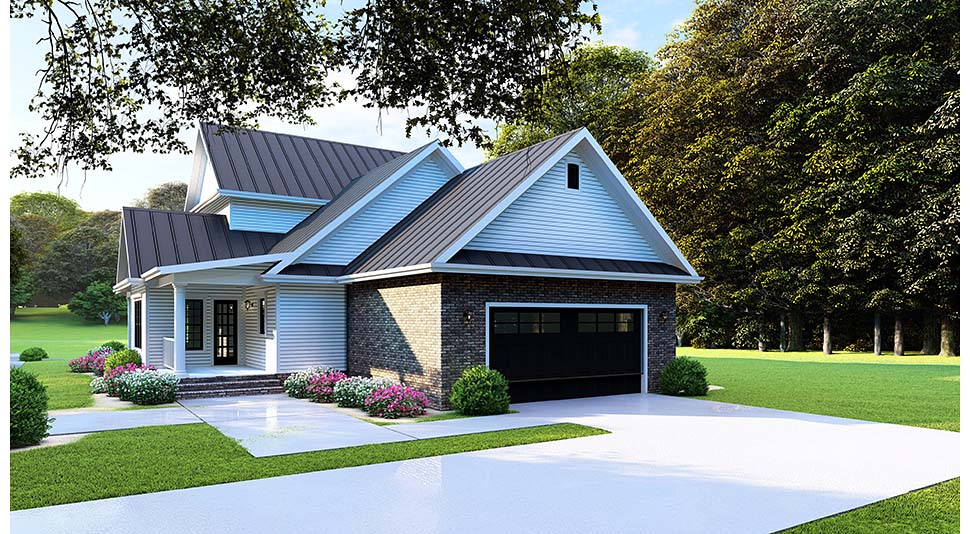 Country, Farmhouse, Southern House Plan 82505 with 4 Beds, 3 Baths, 2 Car Garage Rear Elevation