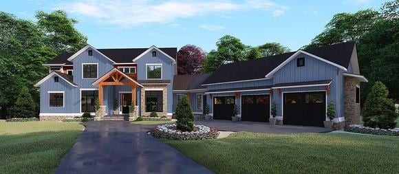 Country, Farmhouse House Plan 82531 with 5 Beds, 6 Baths, 3 Car Garage Elevation