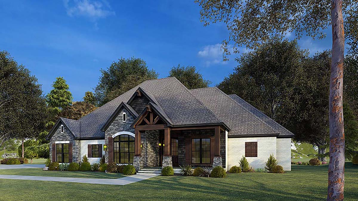 Bungalow, Craftsman, French Country, Traditional House Plan 82575 with 4 Beds, 4 Baths, 2 Car Garage Picture 1