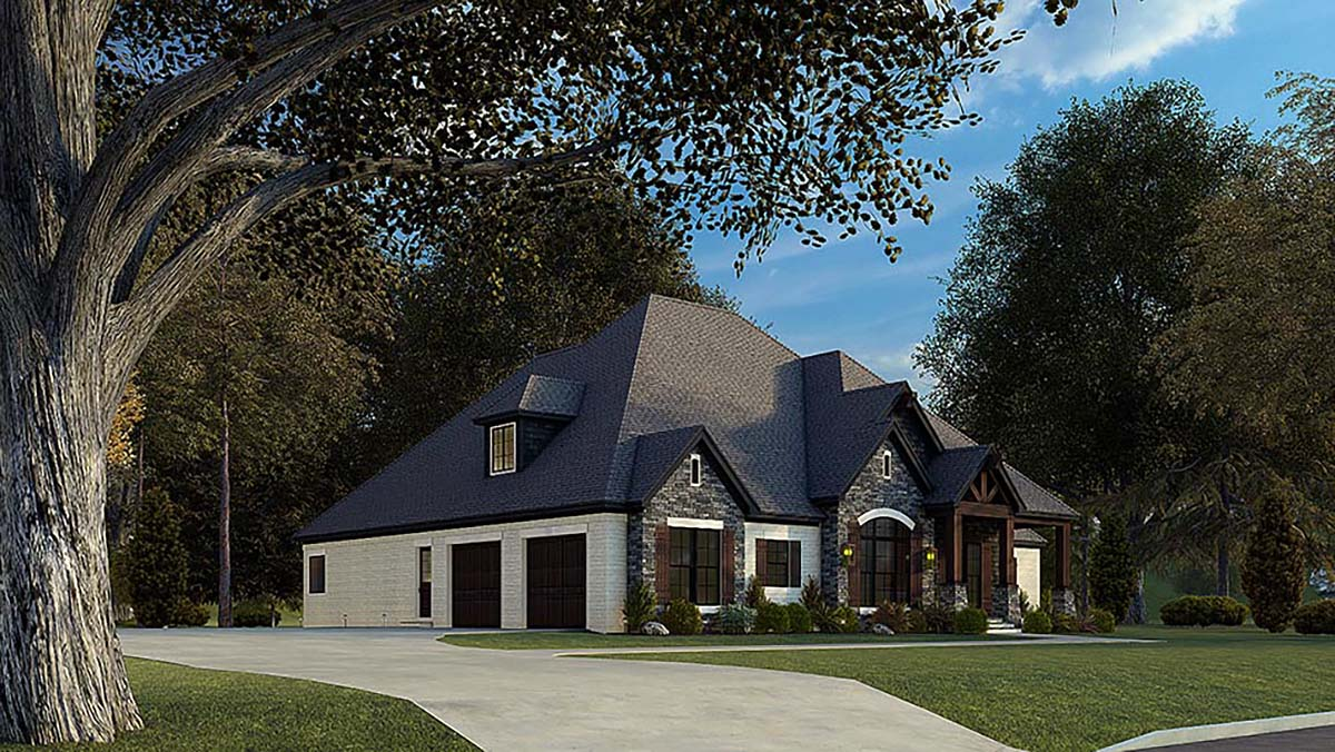 Bungalow, Craftsman, French Country, Traditional House Plan 82575 with 4 Beds, 4 Baths, 2 Car Garage Picture 2